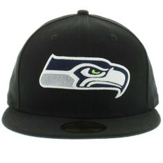 NFL Seattle Seahawks Black and Team Color 59Fifty Fitted Cap by New Era.   25.99 Nfl ff7f16ed5