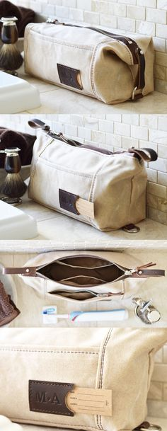 Are you looking for the best personalized gift for him?Monogrammed expandable toiletry travel dopp kit for men in ivory waxed cotton canvas and leather. Made in the USA.