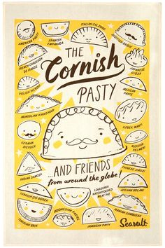 The Cornish Pasty and friends from around the globe. Tea towel print of pasty type snacks from around the world by Matt Johnson for Seasalt Cornwall.