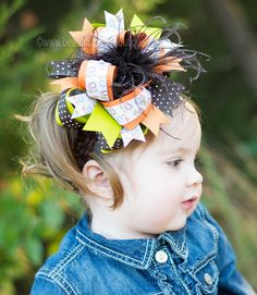 Autumn Owl Over the Top Hair Bow 6 inch Fall Owl by BBOWSBOUTIQUE