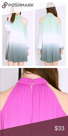 Cold shoulder ombré 2 tone long sleeve dress Cold shoulder ombré 2 tone long sleeve dress Dresses Long Sleeve