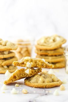 These White Chocolate Macadamia Nut Cookies have soft and chewy centers with lightly crisp edges! They use an extra egg yolk for chewiness and are loaded with white chocolate chips and macadamia nuts for the ultimate cookie! White Chocolate Macadamia Cookies, Macadamia Nut Cookies, White Chocolate Chips, Food Scale, Sweets Recipes, Yummy Recipes, Cookie Desserts, Cookie Dough, A Food