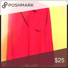 Outback Red pink blouse Bright spring long sleeve pink blouse Tops Button Down Shirts