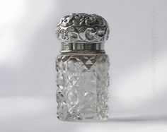 1920s Perfume Scent Bottle, Sterling Silver lid hobnail cut glass, English…