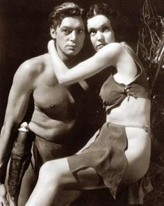 Portrait of Maureen O'Sullivan and Johnny Weissmuller in Tarzan, the Ape Man directed by W.S. Van Dyke, 1932.