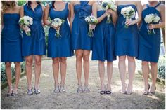 This is exactly what I want.  Mismatched dresses, same color.  Everyone gets to wear something they look good in :)