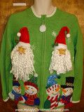 3D Santas make any sweater scary www.MyUglyChristmasSweater.com