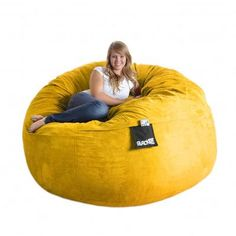 Slacker Sack Bean Bag Sofa Size Extra Large Upholstery Lemon Yellow