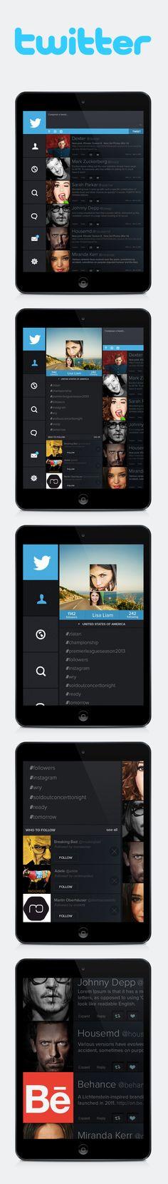 Twitter ipad edition (conception) by Enes Danis, via Behance Flat Web Design, Ui Ux Design, Tablet Ui, Iphone App Design, Mobile Web Design, App Design Inspiration, Ui Web, Application Design, Ipad App