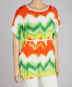 This Lime & Orange Zigzag Cape-Sleeve Tunic - Plus is perfect! #zulilyfinds