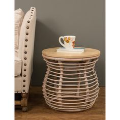 Decorative Leaburg Casual Off-White Round Accent Table