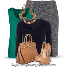 Tweed skirt with green top