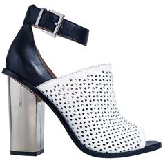 Wittner | Tristen Perforated Heel - loving the black and white with metalic heel