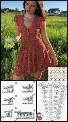 Crochet Short Dresses, Crochet Clothes, Diy Clothes, Short Sleeve Dresses, Dresses With Sleeves, Crochet Crop Top, Knit Crochet, Crochet Blouse, Crochet Tops