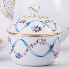 #Coffee Set for 2 Persons Flower Garland with Ribbon FLR flower pattern - #Herend fine china.