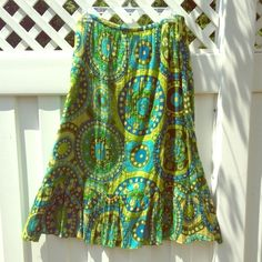 """Cotton Hippie/Boho Skirt Soft, summery 100% cotton ankle skirt in a geometric print of turquoise and shades of green. Embroidery and sequin embellishments all over. Fully lined. Elastic waist. Flounced hem. About 35"""" long. By Cato Woman. Perfect poolside! Cato Skirts"""