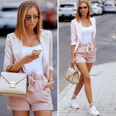 Powderpink🌸 #outfit details👇🏻 @etikastorehungary pastel blazer and shorts #reklám @zara top @camelia_roma leather bag @nike AirForce1 sneakers @eyelovesquad sunnies Pink Trainers Outfit, Blazer And Shorts, White Shorts, Camelia Roma, Dressed To Kill, Zara Tops, Short Outfits, How To Wear, Clothes