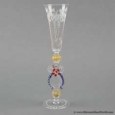 Murano Glass Museum | Murano Glass Museum Goblet - Engraved with Blue and Red