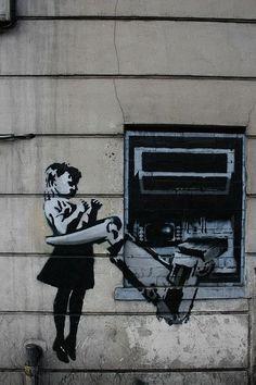 Banksy Girl & ATM – Graffiti Street Art – Photo Printed on Metal Banksy Graffiti, Street Art Banksy, 3d Street Art, Arte Banksy, Banksy Artwork, Amazing Street Art, Bansky, Graffiti Lettering, Graffiti Wall