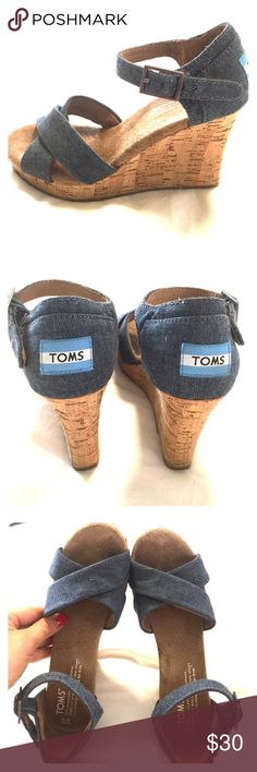 TOMS cork wedge sandal TOMS cork wedge sandal. Very good condition size 6. TOMS Shoes Wedges