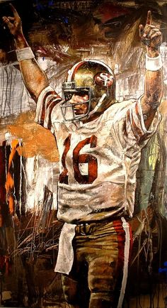 """""""Joe Montana Super Bowl Xvl"""" By Stephen Holland Nfl 49ers, 49ers Fans, Nfl Redskins, Football Art, Football Season, Football Players, Montana Football, 49ers Players, Football Helmets"""
