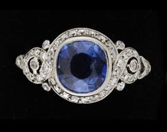 RING, A platinum, blue sapphire and diamond 1930s ring.. - Autumn Klassiska sale 554 – Bukowskis
