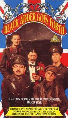 Blackadder Goes Forth (1989) has the dream team of Hugh Laurie, Stephen Fry and Rowan Atkins - and the do the definition of British humour.  First Blackadder was made 1982 and all of them are great - bout the fourth season is a must to see.  Rowan Atinking speaking (!), Hugh Laurie as an idiot, Tony Robison at his best is comedy,  and high school variety style of acting. Awesome.