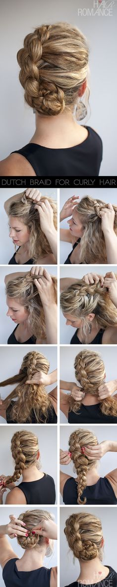 Hair Romance - Dutch Braided updo tutorial for curly hair