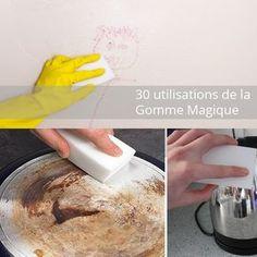 30 utilisations de la gomme magique... pour nettoyer sans aucun produit chimique.... vous avez besoin de juste un peu d'eau, c'est tout ! Réservez son utilisation pour les gros nettoyages car sa durée de vie va jusqu'à 3 ou 4 utilisations selon ce que vous nettoyez. Ce n'est pas un nouveau produit puisque ça fait une vingtaine d'années que cela existe ! Cette éponge marche tellement bien qu'elle peut parfois enlever la peinture de certaines surfaces alorslisez bien le mode d'emploi pour…
