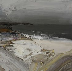 Grey Half-Light, Wild Cove - Scottish West Coast Landscape Oil on canvas Painting by contemporary Scottish Artist Chris Bushe RSW at Panter and Hall Gallery, London Seascape Paintings, Landscape Paintings, Abstract Landscape, Abstract Art, Contemporary Paintings, Painting Inspiration, Beach Art, Scribble, Cornwall