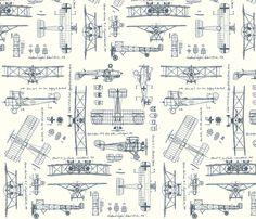 WW1 Blue/Cream fabric by savannahlindsay on Spoonflower - custom fabric