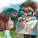 """Relentlessly Cheerful Art by James Hance (Han and Leia, """"Up"""")"""