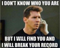 Ronaldo was the league's all-time scorer for 24 hours. then messi had his say. Fc Barcelona, Lionel Messi Barcelona, Funny Soccer Memes, Sports Memes, Soccer Humor, Funny Sports, Funny Memes, Play Soccer, Soccer Stuff