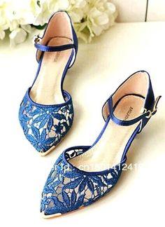 Tendance Chaussures – 2013 Summer New Pointy Toe Royal Blue Lace Upper Low  Heel 3 cm Elegant Women Wed… Tendance   idée Chaussures Femme Description  2013 ... 8043168388b0