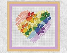 Cross stitch pattern of a brushstrokes rainbow heart with bold paw prints walking across it. Because you can never have too many paws in your life! Cat Cross Stitches, Cross Stitch Needles, Cross Stitch Heart, Cross Stitching, Cross Stitch Embroidery, Modern Cross Stitch Patterns, Cross Stitch Designs, Cross Stitch Silhouette, Unicorn Cross Stitch Pattern