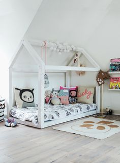 Great bed for toddlers.  Low to the ground.  Your child can get in and out independently (gasp!).  Can be converted into a play house with a sheet or blanket during the day.