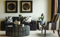 A sophisticated scheme of contrasting textures by Coco Republic Property Styling in Melbourne #cocorepublic #interiordesign #styling #patterns #livingroom #elegance #luxury #metallics