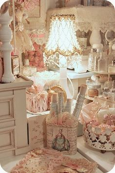 Jaw droppingly over the top pink frill fantasyland!!!!! Love the petite tables piled on the drawers
