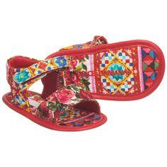 Dolce & Gabbana - Baby Girls Pink 'Carretto Con Rose' Sandals   Childrensalon