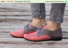 SALE 35% OFF Pink Leather Shoes Pink Oxford Shoes by BangiShop