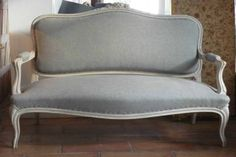 Small French Sofa - love this color fabric - would be a good choice for the sofa I am redoing upstairs