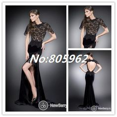 2014 Mermaid Lace Scoop Short Sleeve Evening Dress Open Back With Side Slit Satin vestido de festa Prom Gowns Floor Length D36 $174.99