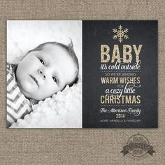 Baby It's Cold Outside Christmas Card Gold Glitter Chalkboard - Baby's First Christmas  - Photo Christmas cards - xmas card - holiday card - snowflake - modern typography. BY Lemonade Design Studio
