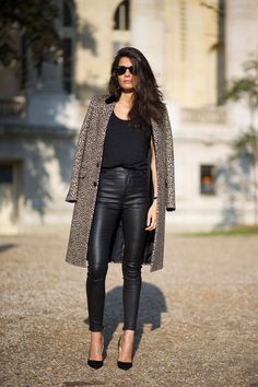 Leopard print coat, black leather trousers, heels, t-shirt. Street fall autumn women fashion outfit clothing style apparel @roressclothes closet ideas