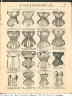 Corsets offered in the B. Altman & Co. catalog, Winter 1886-87