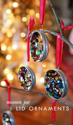 Fill mason jars with glue and sequins. Let it dry, tie on a ribbon, and you have a great ornament!