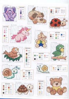 modele de cusut cu animale:  elefant, caine, mamaruta, pasare, melc, ursulet