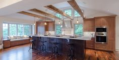 New Transitional Kitchens Cherry Wood Cabinets, Wood Kitchen Cabinets, Sink In Island, Cherry Kitchen, Island With Seating, Transitional Kitchen, Wood Beams, Granite Countertops, Modern Farmhouse