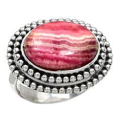 Rhodochrosite 925 Sterling Silver Ring Jewelry s.6 RDOR737
