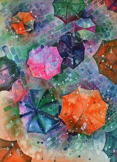 "Saatchi Art Artist Zaira Dzhaubaeva; Painting, ""Umbrellas"" #art"
